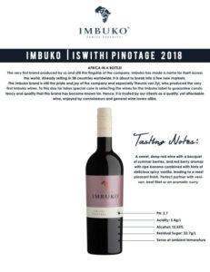 Imbuko Ishtithi Pinotage available at National Foor And Beverages
